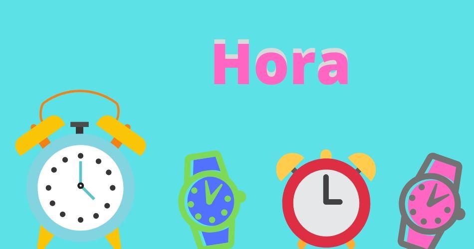 Imágenes de relojes y palabra hora para practicar verbo ser .
