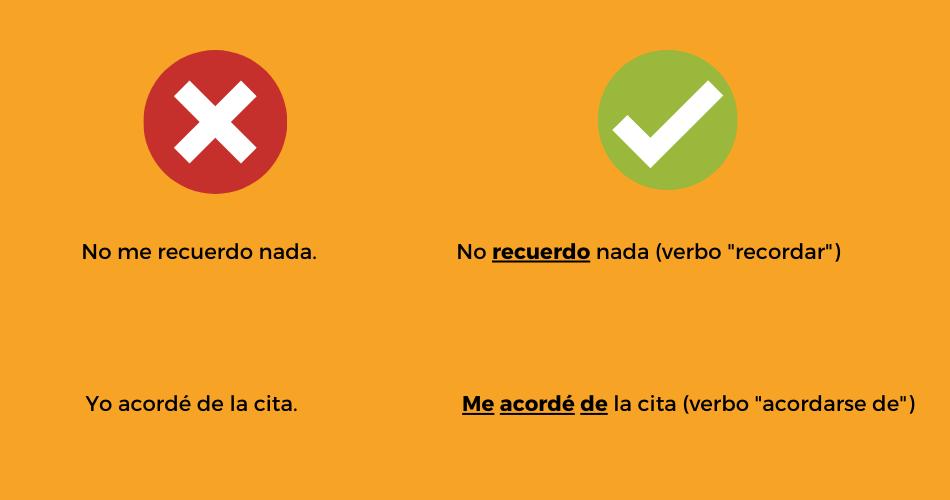 6 Errores comunes verbos acordarse y recordar