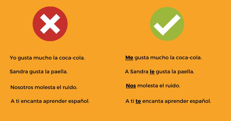 6 Errores comunes verbo gustar